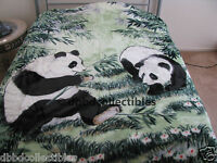Queen Korean Style Mink Blanket Panda Bears Bear Jungle