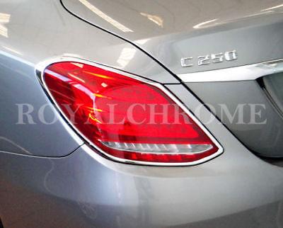 DELUXE x2 REAR LAMP Trim for Mercedes Benz C Class W205 Sedan BRIGHT CHROME