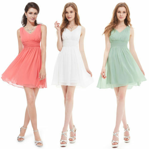 Wome's Elegant V-neck Short Bridesmaid Party Casual Cocktail Prom Dress 03909
