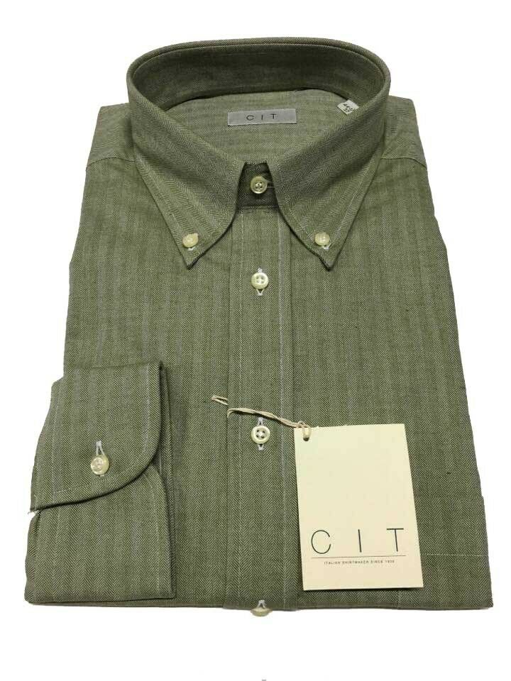 CIT shirt man flannel green sage 100% cotton fit REangular position