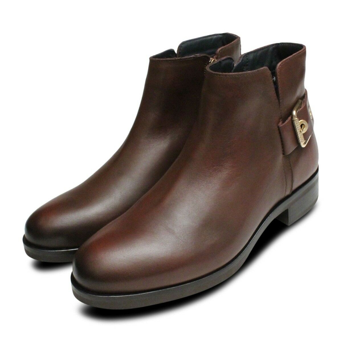 Tessa Tessa Tessa Tommy Hilfiger Gold Buckle Ankle Stiefel in Coffee    00dc24