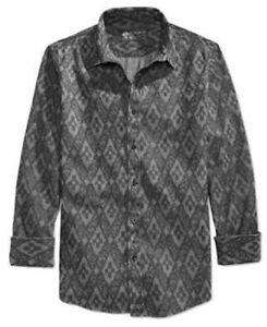 American-Rag-Men-039-s-Swift-Geo-Print-Long-Sleeve-Shirt-Black-Shadow-S-M-L-XL-2XL