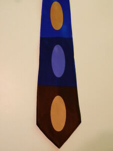 GENE-MEYER-Men-039-s-100-Silk-Necktie-ITALY-Luxury-Geometric-OVALS-Blue-Brown-EUC