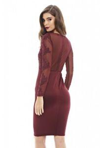 85776ec37e Image is loading AX-Paris-Womens-Wine-Red-Bodycon-Midi-Dress-