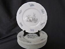 6 assiettes plates porcelaine de Limoges décor gris goût toile de Jouy d 25,7 cm