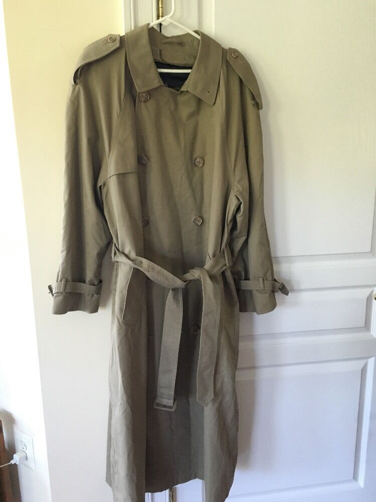 Men's London Fog Trench Coat Zipper Lining Excellent Condition Size 40 Long