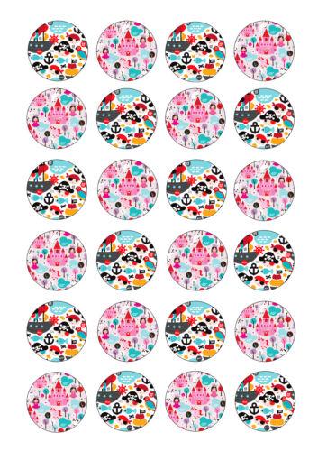 Princesse et Pirate Comestible Fête Cupcake Toppers 24 x 4 cm A4 Glaçage Feuille
