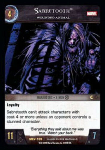 Moderately Played VS System: Sabretooth Wounded Animal Marvel Evolution TCG C