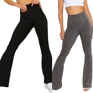 Conditionnement multiple de 2-jersey basic taille haute Bootleg Pantalons Pantalon Jambe Large Fusées