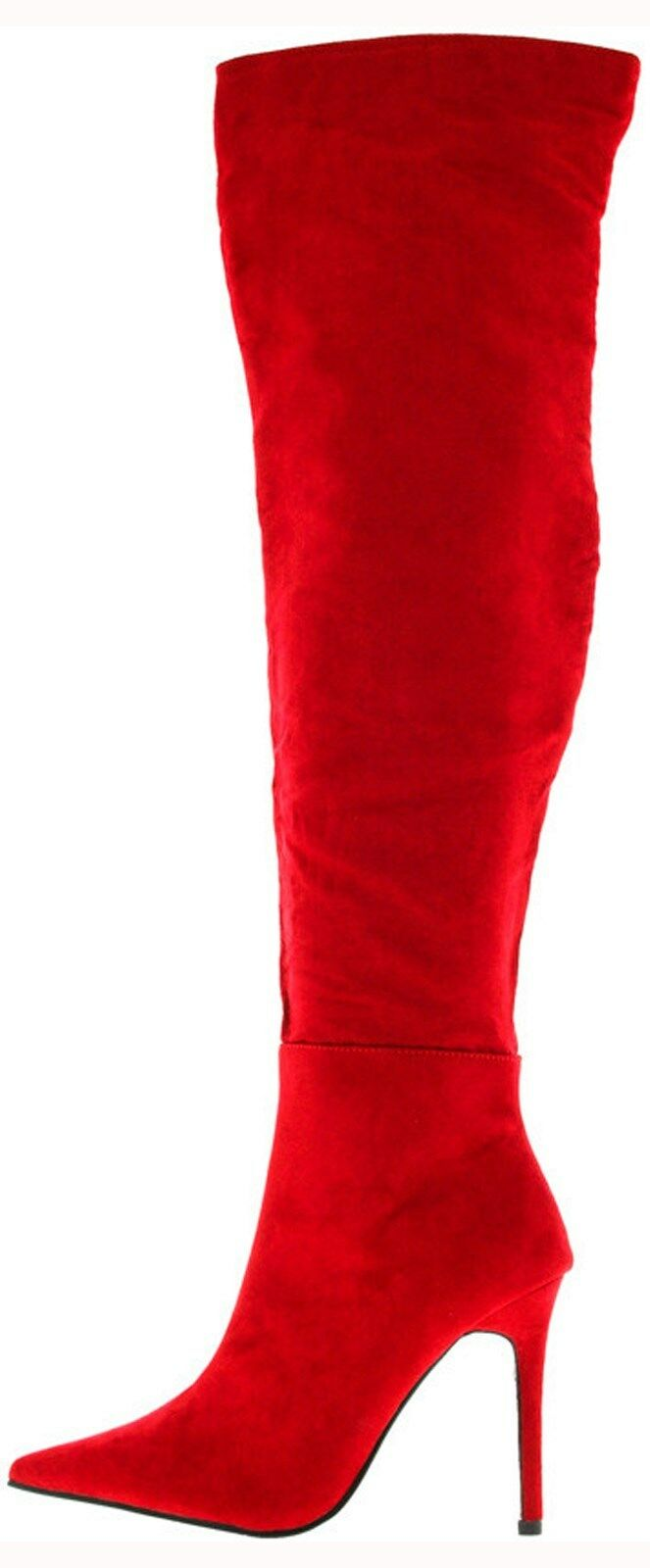 rouge Thigh High Pointed Toe Sexy Stiletto Heel bottes, US US US 7-11 e60ae6