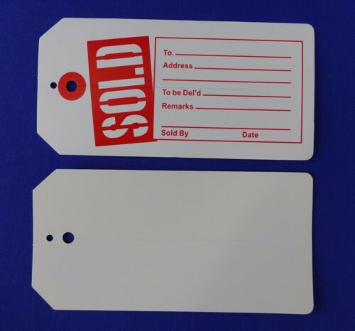 White Sold Tags with Slit Merchandise Price Tags 100 Red Qty