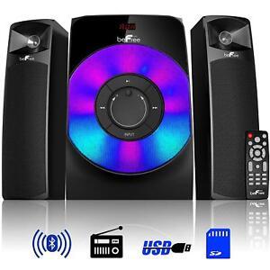 BeFree-SOUND-LED-2-1-CH-HOME-SHELF-BLUETOOTH-STEREO-SPEAKER-SYSTEM-USB-FM-RADIO