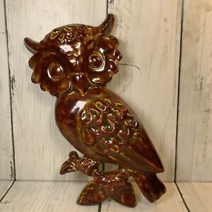 Vintage-Handpainted-Art-Glazed-Ceramic-Owl-Wall-Hanging-3D-1976