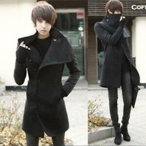 Men Fashion Long Trench Coat Wool Blend Lapel Jacket Slim Fit Overcoat Parka