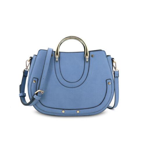 Ladies Faux Leather Shoulder Bag Evening Half Ring Handles Handbag Tote GN60428