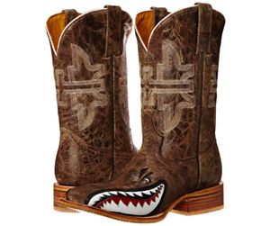 754d5678f39 New Tin Haul Western Boots Mens Gnarly Shark Brown 14-020-0007-0002 ...