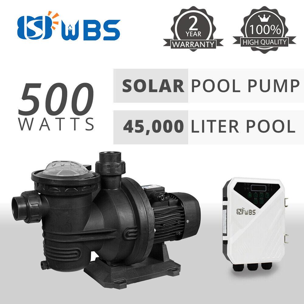 WBS 500W Solar Swimming Pool Pump DC Off Grid 500W Run Free - Suit 45,000L Pool