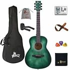 WINZZ HAND RUBBED Series - Left Handed 36 Inches 3/4 Acoustic Guitar Travel B...