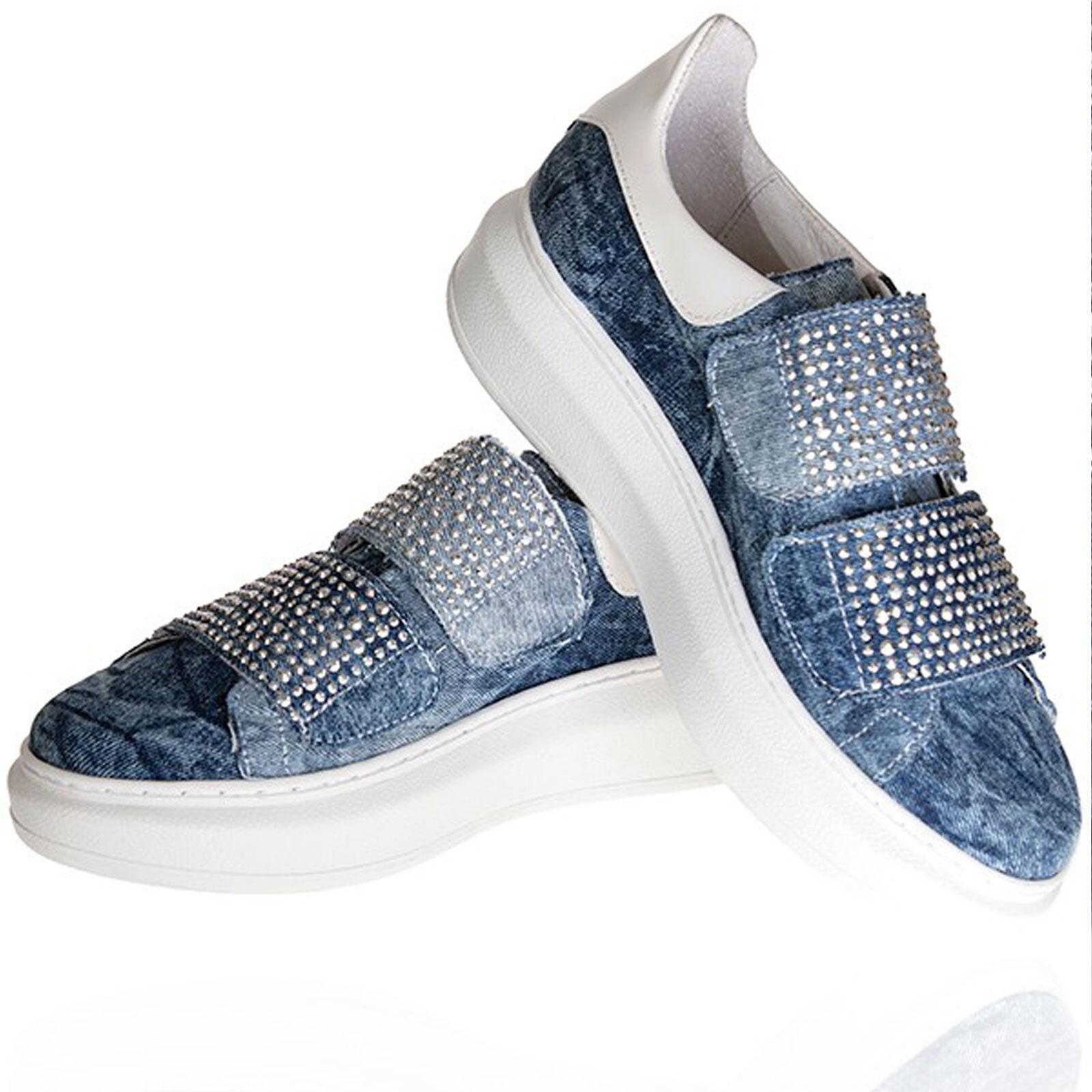 By Scarpe ALINA Scarpe Donna Jeans Zeppe Velcro Sneaker Scarpe By Basse Jeans Scarpe 36-39 99e2b2