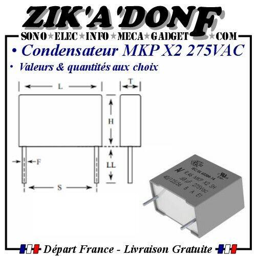 Condensateur MKP X2 275V AC Polypropylène valeurs et quantités aux choix
