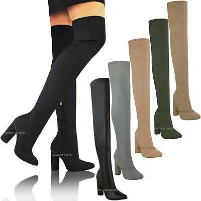 Nueva Mujer señoras del muslo botas altas encima de la Rodilla Bloque Tacón Elástico Zapatos Talla