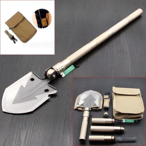 UK Gold Military Folding Spade Shovel Pick Axe Camping Metal Detecting Mini Tool
