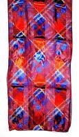 Scarf Bright Red & Royal Purple & Yellow Checks Bold Diagonal Plaid