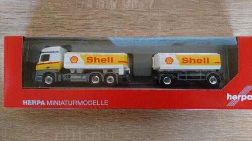 """Herpa 310437-1//87 mercedes-benz actros streamspace tanque de gasolina-Hz /""""shell/"""" nuevo"""