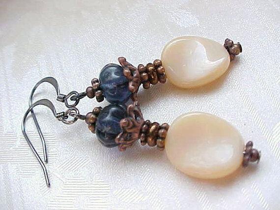 Czech Glass Earrings Beige Montana Blue Brown Winter Civil War Reenactment Gift