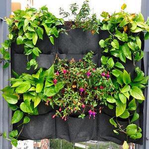 12 Pockets Bag Wall Hanging Flower Planter Yard Outdoor Garden Herb