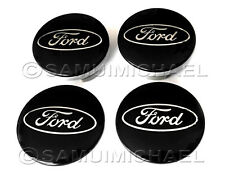 FORD BLACK ALLOY WHEEL CENTRE CAPS SET 54MM - FOCUS/MONDEO/FIESTA/KA etc