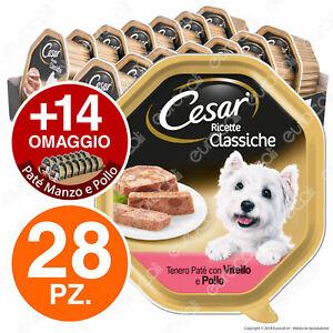 Cesar Ricette Classiche Cibo per Cani con Vitello e Pollo - 42 Vaschette da 150g