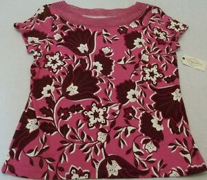 Women-039-s-St-John-039-s-Bay-Shirt-Party-Pink-Floral-Size-Petite-Large-New-W-Tags