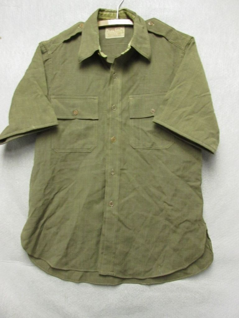 7f1d99061 V6618 True Green Wool All Wool WWII Army Short Sleeve Shirt Men's L U.S.  Fir nrszyq2405-Casual Button-Down Shirts