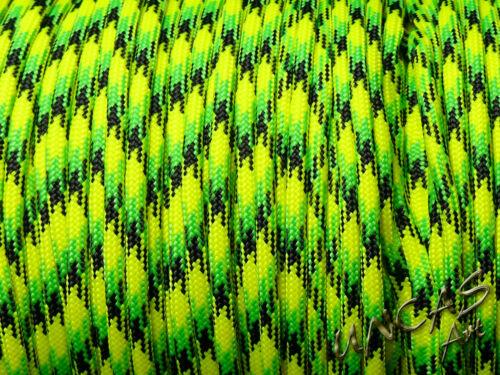 Paracord 550 Type III 4 mm ficelle bande corde 100/% Nylon Dragonfly jaune vert Lizzard