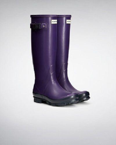 Hunter DONNA Norris campo Due Tonalità Stivali in Scuro Iris/Blu Marino UK8/UK9