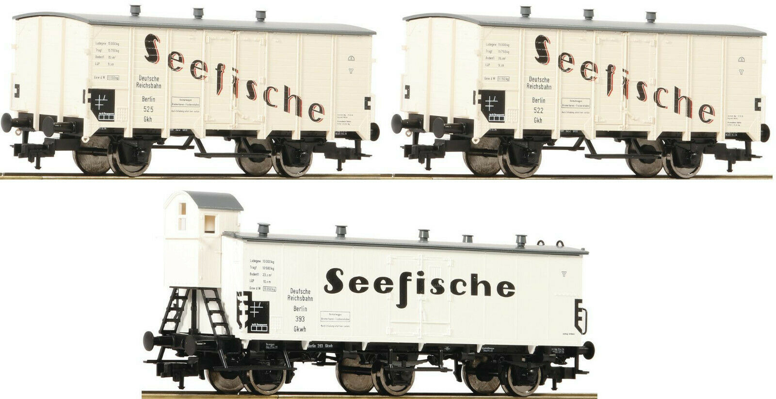 Fleischmann 538101 3 Kühlwagen SEEFISCHE DRG Ep.2 NEU zu 436001 Roco 76300 76301