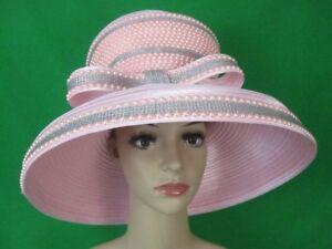 5bb0a4e9eb1 NEW Charm NY Pink Wide Brim PEARLS RHINESTONE HAT CHURCH BLING COGIC ...