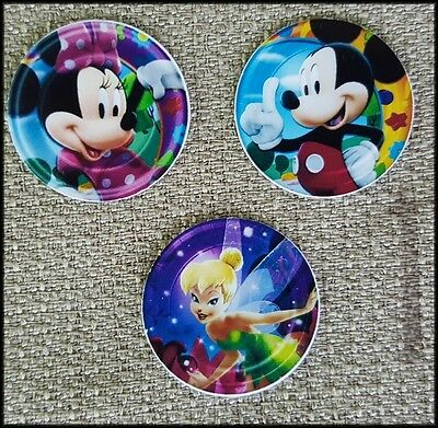Set of 3 - 22mm Living Floating Locket Images Charm Disks - Mickey Minnie Mouse