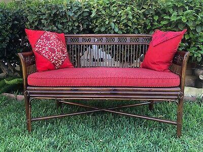 Vintage Indoor Bamboo Rattan Settee, Bamboo Patio Furniture Cushions