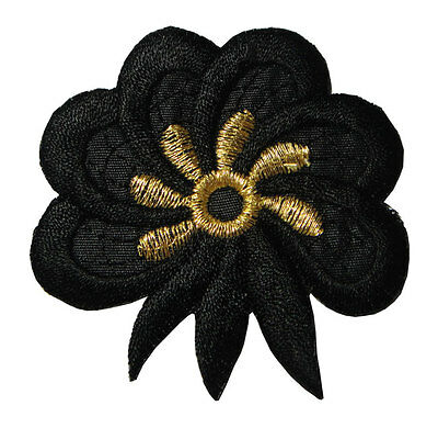 Cute Beautiful Black Golden Flower Embroidered Iron on Patch Free Postage