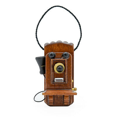 Mahogany Wood Antique Wall Telephone Miniature Old-fashioned 1:12 Dollhouse Gift
