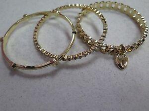Image Is Loading R J Graziano Bangle Bracelets Set Of 3 Goldtone