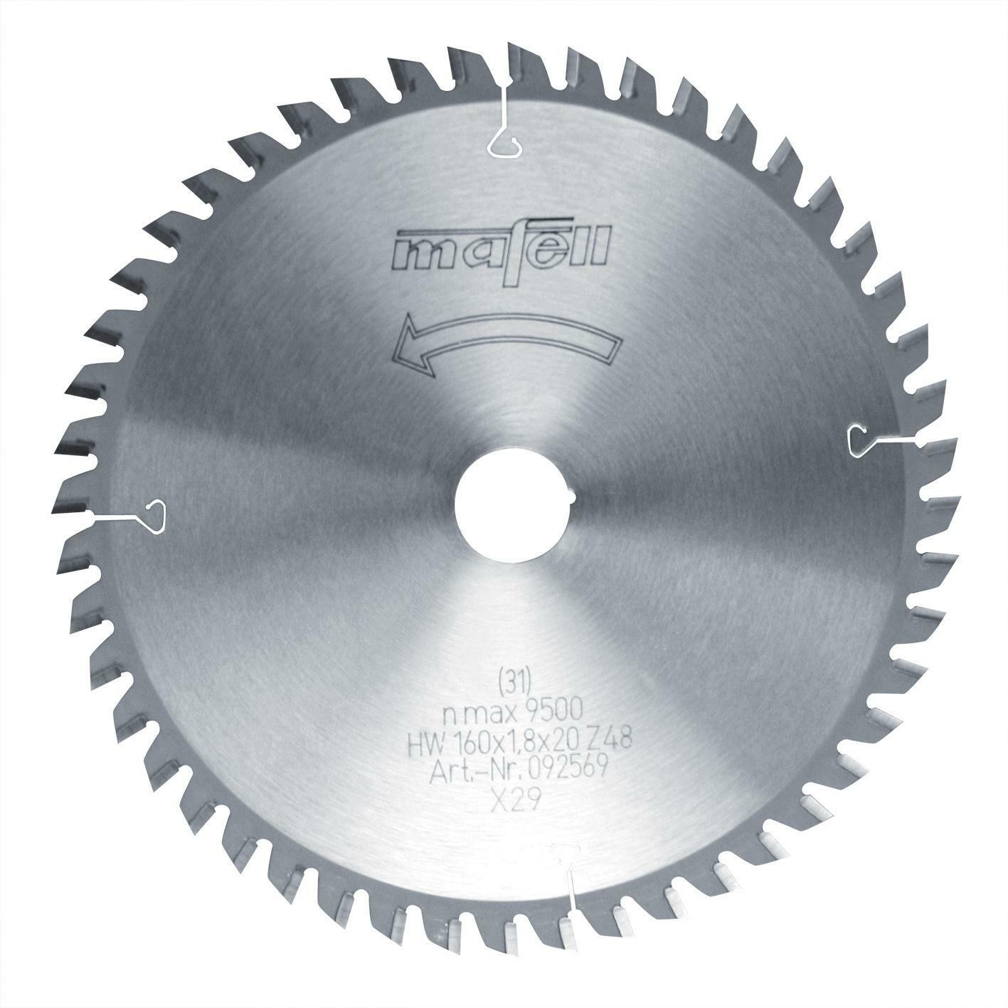 Mafell Sägeblatt-HM 160 x 1,2 1,8 x 20 mm, Z 48, FZ TR   092569