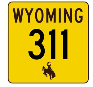 Wyoming Highway 311 Sticker R3502 Highway Sign