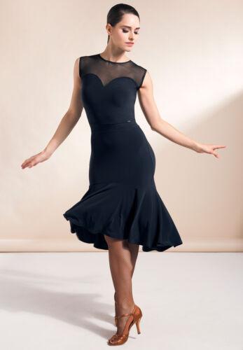 New Ballroom Latin Dance Dress Tango Competition Practice Black Dress YG12