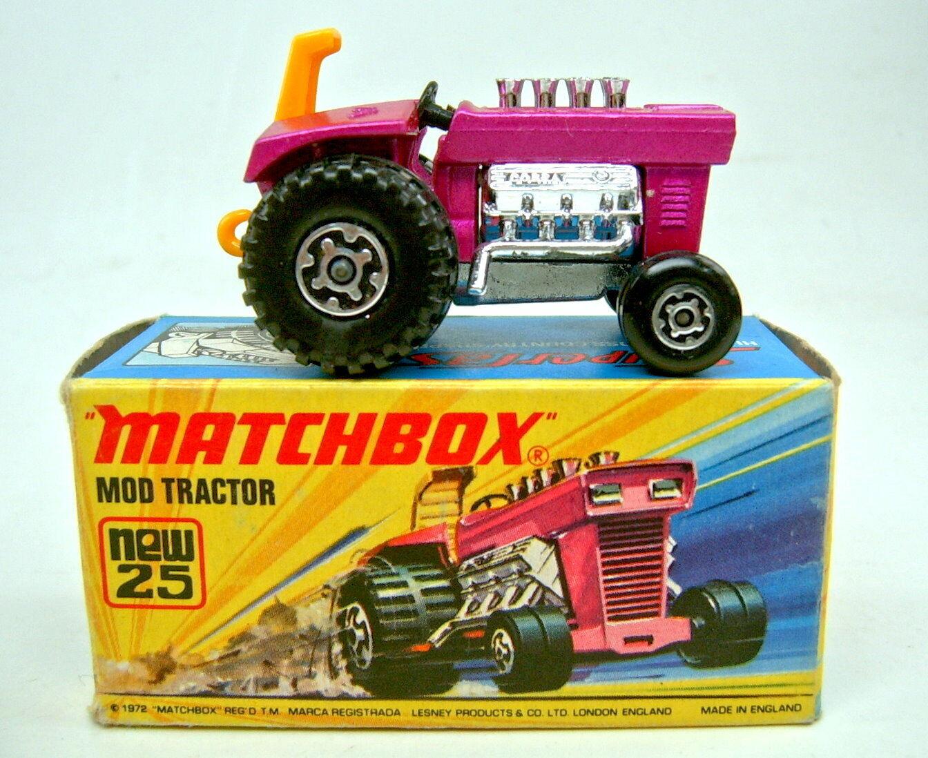 MATCHBOX SUPERFAST Nº 25b MOD TRACTOR Violet peinte plaque de sol Top Dans Box