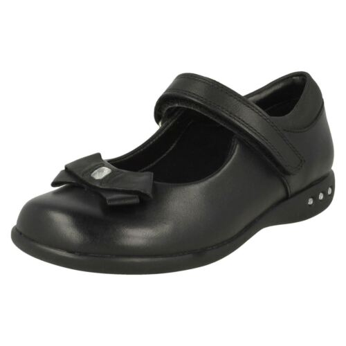 Clarks Prime Skip Girls Black Leather Shoes UK Sizes 9 to 2.5 G Fit R14A