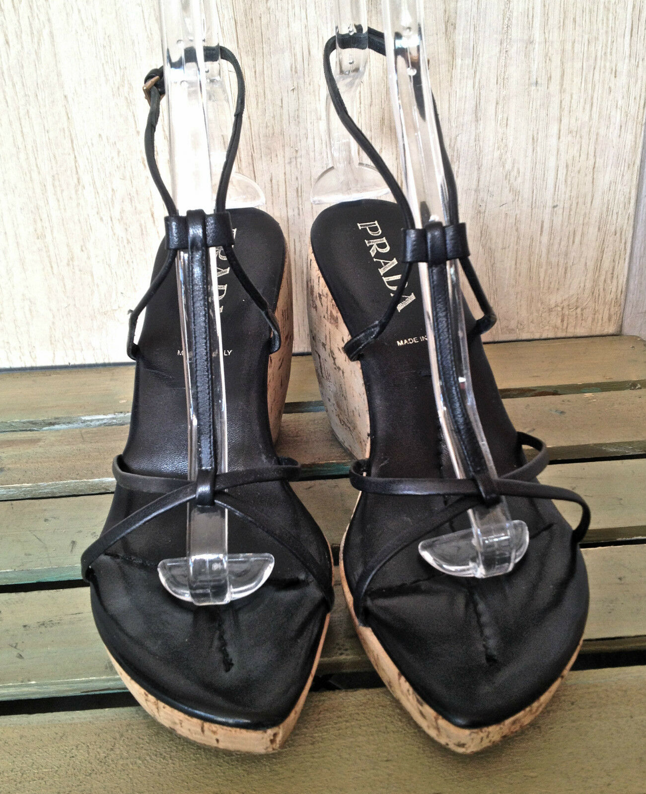 Prada schwarz Leder strappy Sandales tan cork platform wedge 41.5 NEAR PERFECT 41.5 wedge 3b7a21