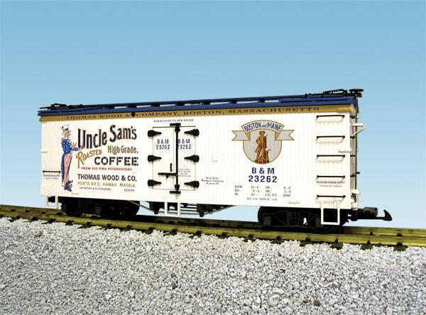 USA Trains G Scale R16349 B&M UNCLE SAM COFFEE Reefer